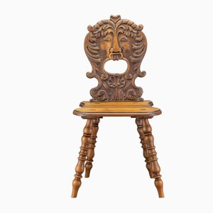 Antique German Carved Oakwood Hall Chair, Late 19th Century