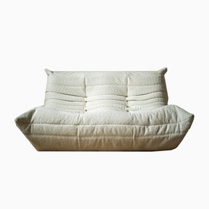 Togo 2-Seater Sofa Suite in White Bouclette Fabric by Michel Ducaroy for Ligne Roset