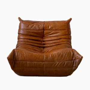 Vintage Pine and Leather Togo Lounge Chair by Michel Ducaroy for Ligne Roset
