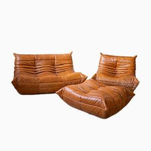 Vintage Pine Leather Togo Living Room Set by Michel Ducaroy for Ligne Roset, Set of 3