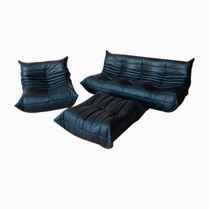 Vintage Black Leather Togo Living Room Set by Michel Ducaroy for Ligne Roset, 1970s, Set of 3