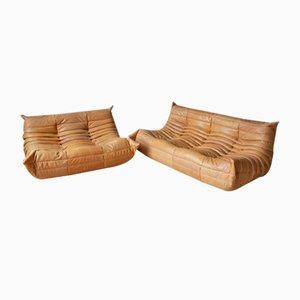 Kamelbraunes Togo 2-Sitzer & 3-Sitzer Sofa Set von Michel Ducaroy für Ligne Roset, 1970er, 2er Set