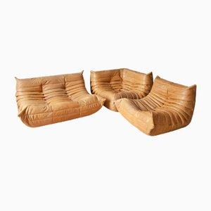 Camel Brown Leather Togo Corner Armchair, Armchair, and 2-Seater Sofa Set by Michel Ducaroy for Ligne Roset, 1970s, Set of 3