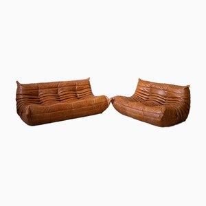 Juego de sofá de dos y tres plazas Togo de pino y cuero de Michel Ducaroy para Ligne Roset, años 70. Juego de 2