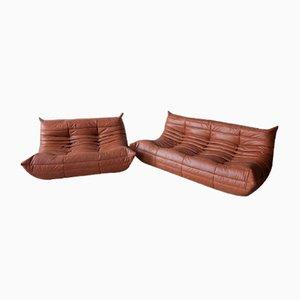 Juego de sofás de dos y tres plazas Kentucky de cuero marrón de Michel Ducaroy para Ligne Roset, años 70. Juego de 2