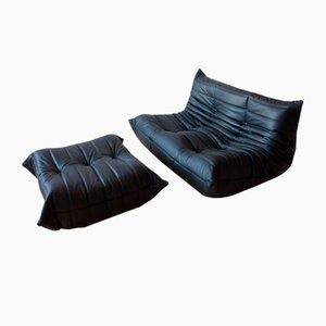 Black Leather Togo Armchair and Pouf Set by Michel Ducaroy for Ligne Roset, 1970s, Set of 2