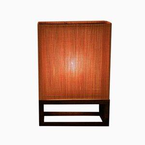 Vintage Orange Wooden Table Lamps, Set of 2