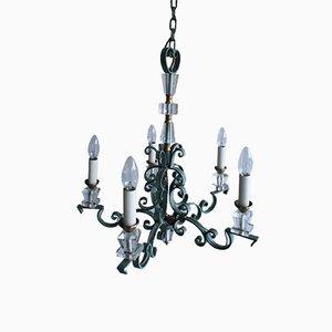 Lámpara de araña francesa vintage de hierro forjado y cristal