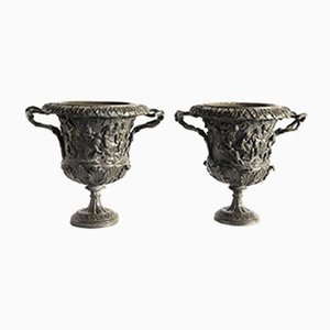 Italian Carved Bronze Grand Tour Vases by M. Amodio, 1880s, Set of 2