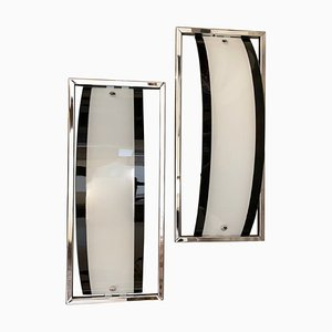 Italian Modernist Black and White Wall Sconces, 1980s, Set of 2