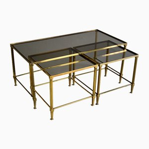 Mid-Century Modern Brass Nesting Tables Attributed to Maison Jansen, Set of 3