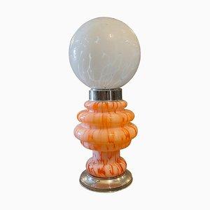 Italienische Space Age Tischlampe aus orangefarbenem & weißem Glas von Mazzega, 1970er