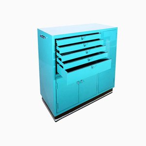 Vintage Turquoise Medical Cabinet by Karl Baisch