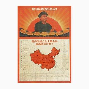 Poster vintage di propaganda comunista raffigurante Mao Zedong