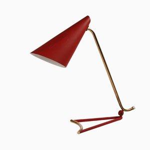 Lámpara de mesa italiana roja, años 50