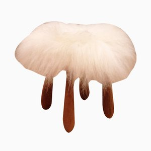 Danish Stool with Long Sheepskin