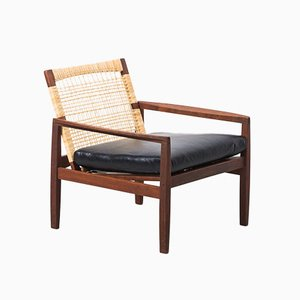 Rattan Backed 519 Arm Chair by Hans Olsen for Juul Kristensen, 1950s