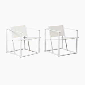 Dutch White FM62 Cube Chairs by Radboud Van Beekum for Pastoe, 1984, Set of 2