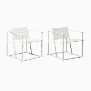 Niederländische FM62 Cube Stühle in Weiß von Radboud Van Beekum für Pastoe, 1984, 2er Set