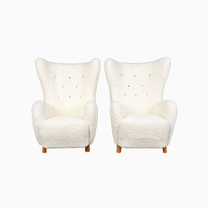 Danish Sheepskin Armchairs by Mogens Lassen, 1940s, Set of 2