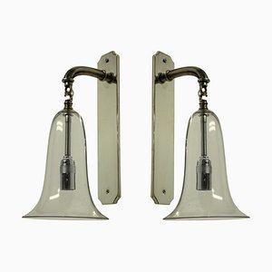 Glas Glocken Wandlampen, 1920er, 2er Set