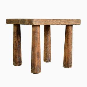 Sgabello vintage in quercia a quattro gambe nello stile di Charlotte Perriand