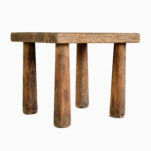 Vintage Four-Legged Oak Stool in the Style of Charlotte Perriand