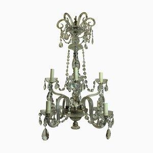 Lámpara de araña francesa antigua de vidrio tallado