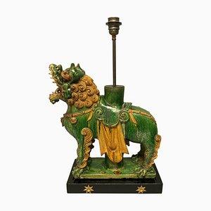 Large Chinese Tang Sancai Foo Dog Lamp
