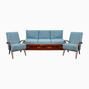 Mid-Century Sofa-Bed and Armchairs by Jindřich Halabala for UP Závody, 1950s, Set of 3