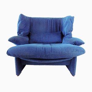 Portovenere Lounge Chair in Blue by Vico Magistretti for Cassina