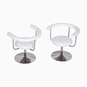 White Leather Swivel Chairs, Czechia, 1940s