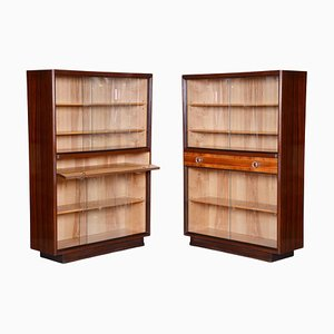 Mid-Century Modern Bookcases in Mahogany and Ash, Czechia, 1940s, Set of 2