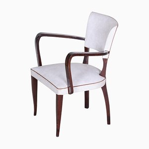 Weißer Sessel aus Kunstleder, Frankreich, 1930er