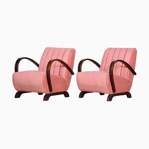 Art Deco Style Pink Fabric Armchair, Czechia, 1930s