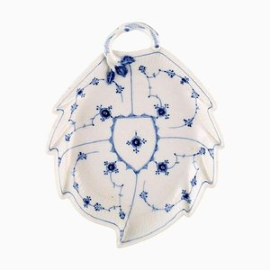 Antique Blue Fluted Leaf-Shaped Dish with Handle from Royal Copenhagen