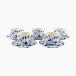 Fünf Blaue Geriffelte Kaffeetassen mit Untertassen von Royal Copenhagen, 10er Set