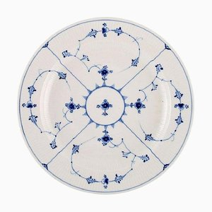 Large Round Antique Blue Fluted Serving Dish from Royal Copenhagen, 19th Century