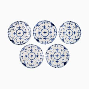 Antique Blue Fluted Half Lace Cake Plates from Royal Copenhagen, Set of 5