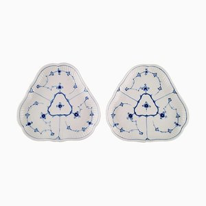 Antique Triangular Blue Fluted Dishes from Royal Copenhagen, Mid-19th Century, Set of 2