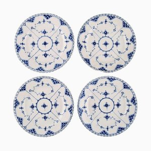 Antique Blue Fluted Full Lace Plates from Royal Copenhagen, 19th Century, Set of 4