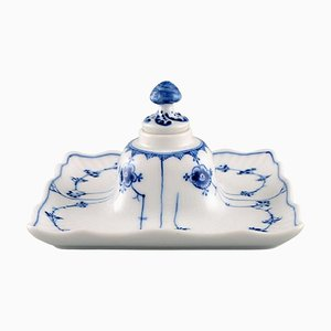 Antique Blue Fluted Plain Inkwell from Royal Copenhagen, 1889-1922