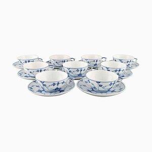 9 blau geriffelte Modell 1/76 Teetassen mit Untertassen von Royal Copenhagen, 18er Set