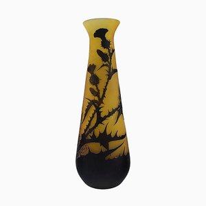 Große antike Vase aus gelbem und schwarzem Kunstglas von Emile Gallé
