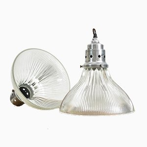 Antique Glass Pendant Light from Holophane