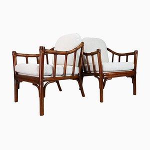 Mid-Century Armlehnstühle aus Bambus & Holz, 1950er, 2er Set