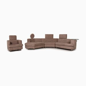Brown Corner Sofa and Stool by Rolf Benz, Set of 2