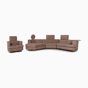 Canapé d'Angle Marron et Tabouret par Rolf Benz, Set de 2