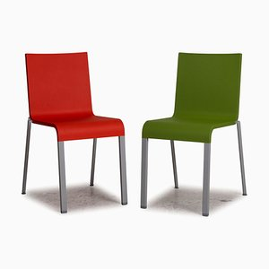 Red and Green 03 Plastic Chair Set from Vitra, Set of 2