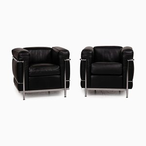 LC 2 Leather Armchair Set from Cassina Le Corbusier, Set of 2